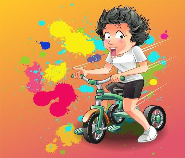 Elle fait du tricycle.