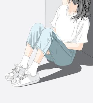 Elle a une humeur solitaire et triste qui attend quelqu'un