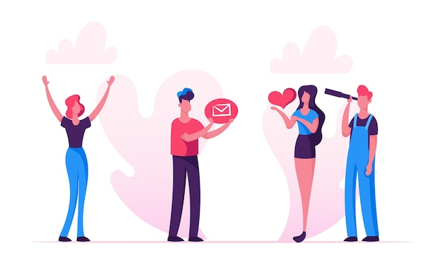 Email concept cartoon illustration plate