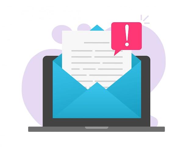Email en ligne arnaque malware malware avertissement fichier fichier avis important sur ordinateur portable
