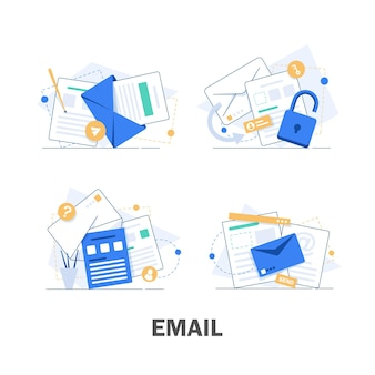 Email et messagerie, campagne de marketing par e-mail, illustration design plat