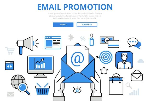 Email promotion marketing numérique promo en ligne concept plat ligne art icônes.