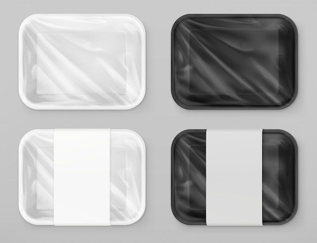 Emballage alimentaire en polystyrène, blanc et noir. maquette réaliste de vecteur 3d