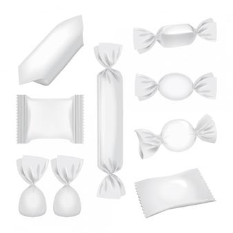 Emballage en aluminium pour bonbons et autres produits, pack de collations alimentaires réalistes.