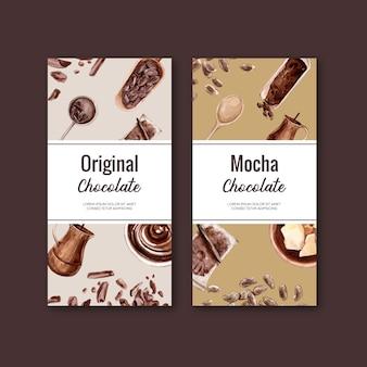 Emballage au chocolat avec ingrédients cacao branche, illustration aquarelle