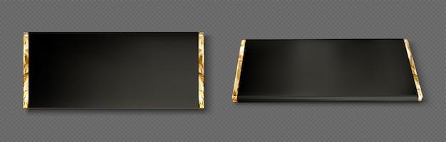 Emballage de barre de chocolat avec feuille d'or et papier noir
