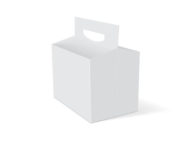Emballage de bière boîte blanche vide sur fond blanc vecteur maquette