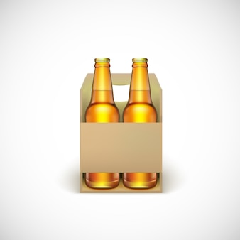 Emballage de bière, isolé sur fond blanc.