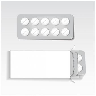 Emballage blanc avec comprimés, médicaments sous blisters maquette modèle vectoriel.