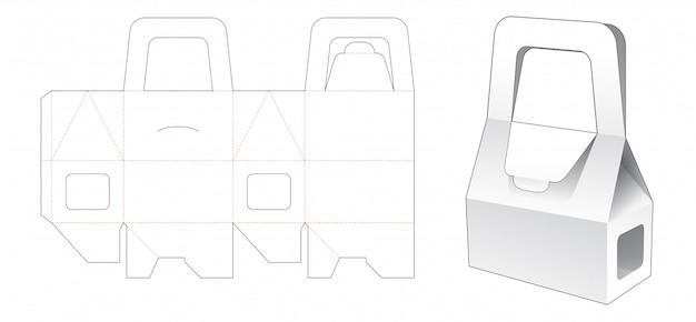 Emballage de boîte de boulangerie avec fenêtre et support gabarit découpé