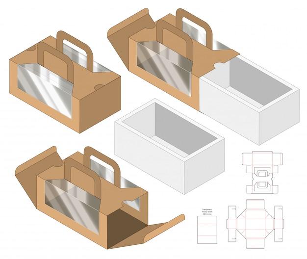 Emballage de boîte die design de modèle coupé. 3d
