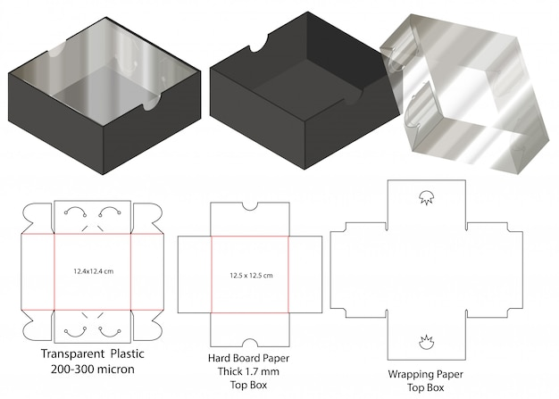 Emballage de boîte die design de modèle coupé. maquette 3d
