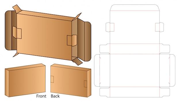 Emballage de boîte die design de modèle coupé. modèle 3d