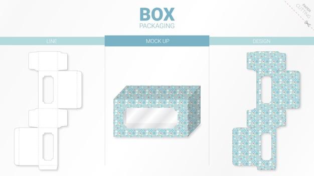 Emballage de boîte et gabarit de découpe moackup