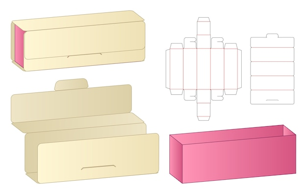 Emballage de boîte maquette de conception de modèle découpé