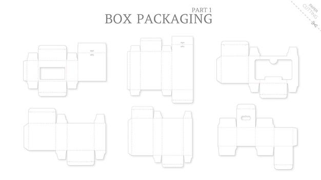 Emballage de boîte et maquette modèle découpé