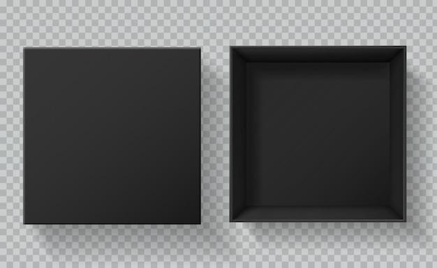 Emballage boîte noire. vue de dessus des boîtes de présentation de cadeaux ouvertes et fermées. maquette 3d de paquet noir en carton vide