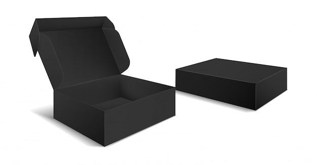 Emballage boîte noire. vue latérale des boîtes vierges ouvertes et fermées. modèle 3d de paquet de produit noir en carton vide
