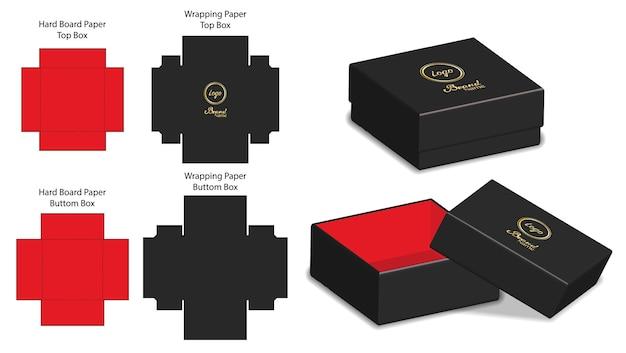 Emballage de boîte rigide die cut modèle maquette 3d