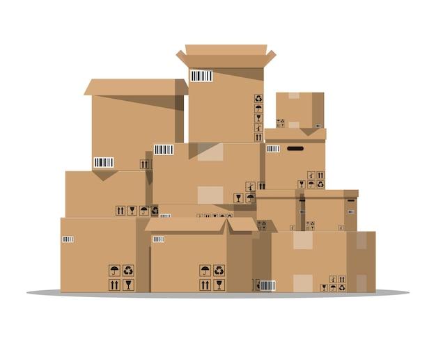 Emballage de boîtes en carton de pile avec illustration de signes fragiles