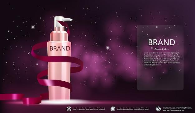 Emballage de bouteille cosmétique dans une bannière rose de galaxie