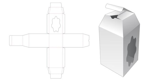 Emballage de bouteille avec modèle de découpe de fenêtre courbe