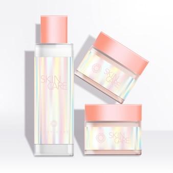 Emballage de bouteille et pot de soins de santé / soins de la peau / beauté avec étiquette holographique