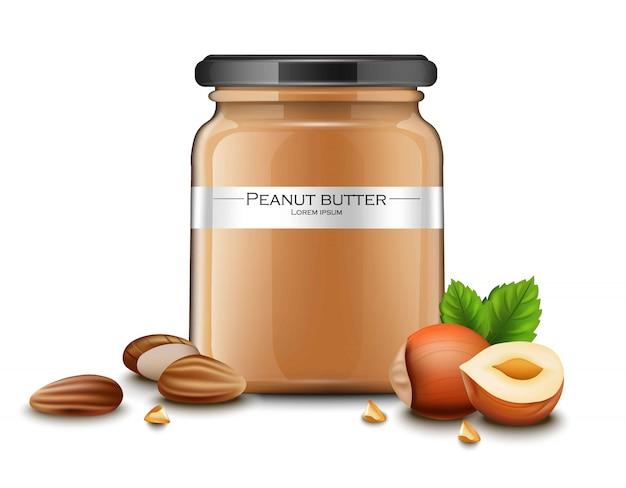 Emballage de bouteille réaliste de beurre d'arachide