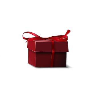 Emballage cadeau rouge isolé sur blanc