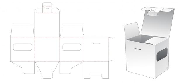 Emballage carré avec gabarit découpé windows
