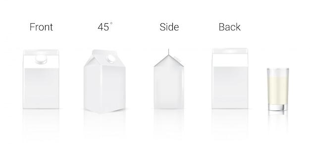 Emballage de carton de lait réaliste 3d
