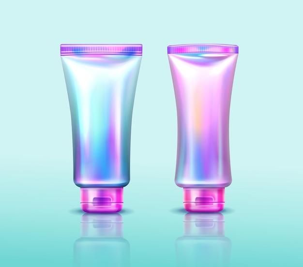 Emballage cosmétique holographique tubes irisés