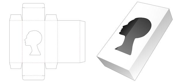 Emballage cosmétique avec modèle de découpe de fenêtre en forme de portrait