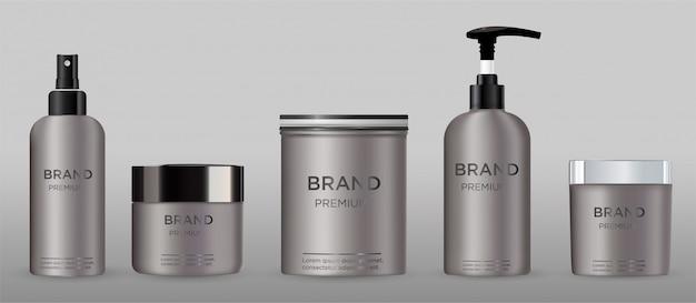 Emballage cosmétique vierge métal isolé sur gris