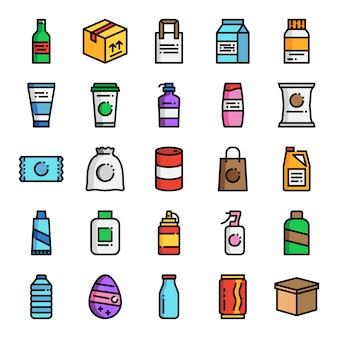 Emballage du produit pixel parfait ligne de couleur icônes