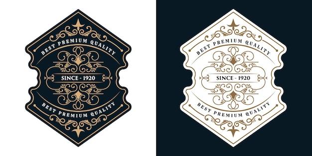 Emballage d'étiquette de logo de cadres de luxe vintage pour étiquettes de bouteille d'alcool et de boissons de whisky de bière