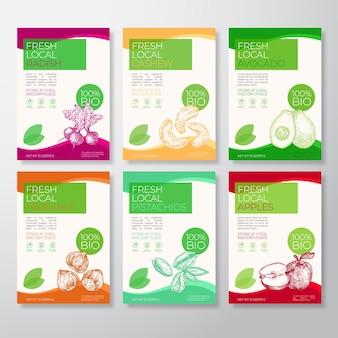Emballage d'étiquettes de fruits et de noix frais locaux