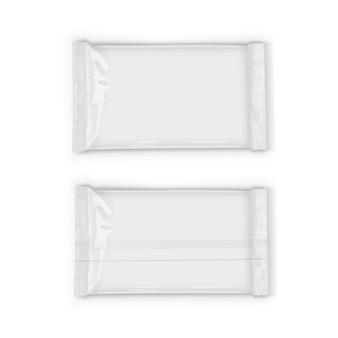 Emballage de flux blanc en plastique avec des ombres transparentes isolées