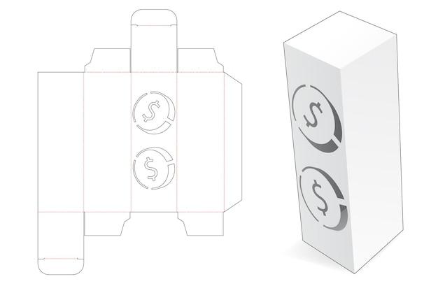 Emballage d'une grande boîte avec un modèle de découpe de pièces de monnaie en dollars au pochoir