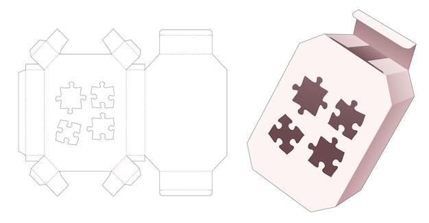 Emballage hexagonal avec gabarit de découpe de fenêtre en forme de scie sauteuse