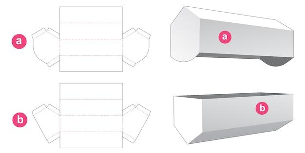 Emballage hexagonal long avec couvercle gabarit découpé