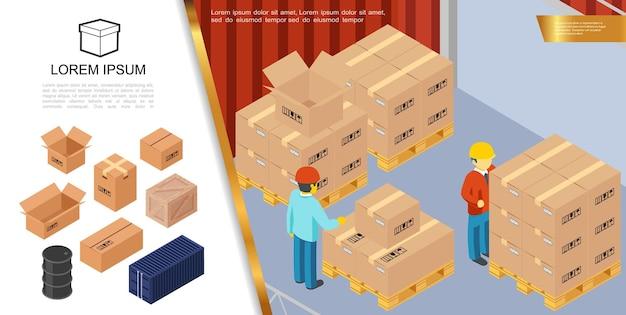 Emballage isométrique et livraison avec des travailleurs de stockage debout près de boîtes en carton sur des palettes illustration