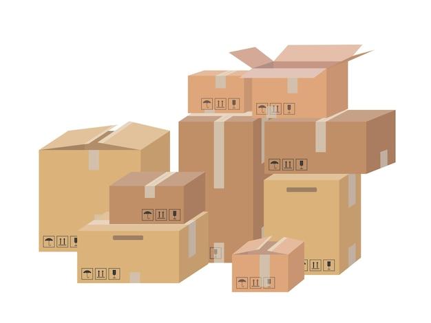 Emballage de livraison en carton boîte ouverte et fermée avec signes fragiles.