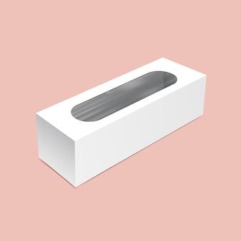 Emballage long avec maquette de fenêtre ronde