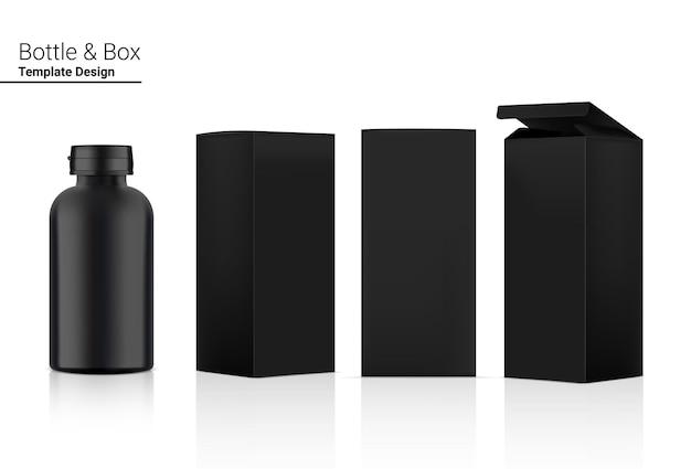 Emballage métallique de bouteille de médecine réaliste avec boîte.