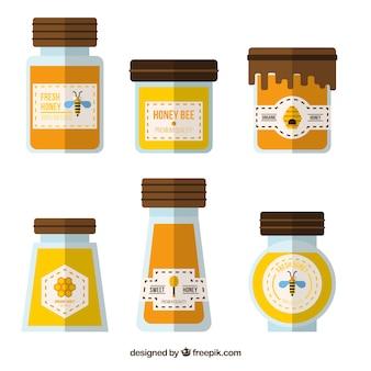 Emballage de miel biologique, le style plat
