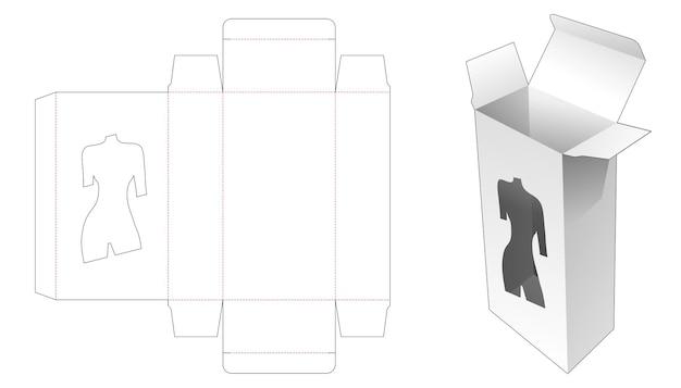 Emballage avec modèle de découpe de fenêtre en forme de corps de femme