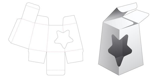Emballage obélisque avec fenêtre en forme d'étoile gabarit découpé à l'emporte-pièce