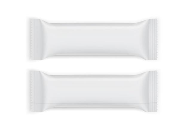Emballage en papier blanc vue de dessus et de dessous isolé sur fond blanc