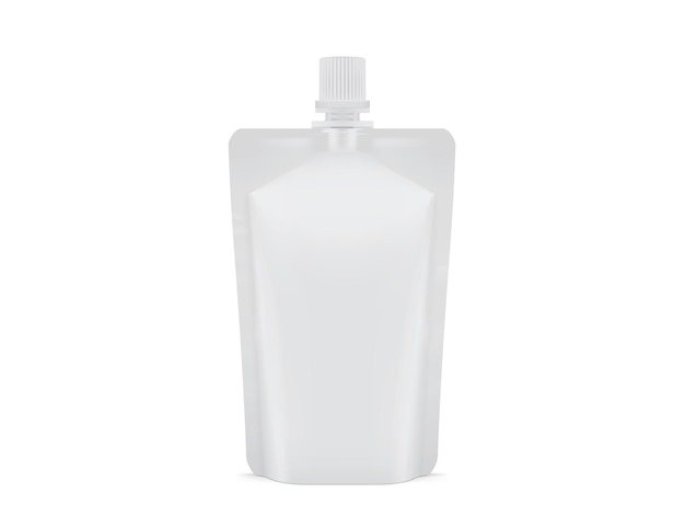 Emballage en plastique blanc blanc doy pack isolé sur fond blanc
